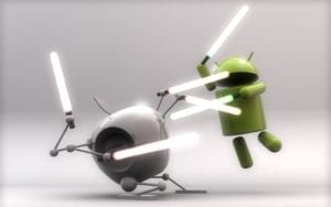 Apple and Android lightsaber duel
