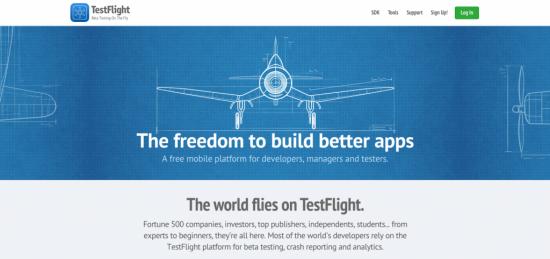 TestFlight website homepage