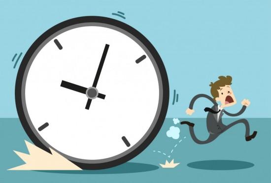 man running away from clock