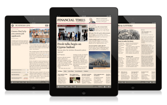 tablets with Financial Times news