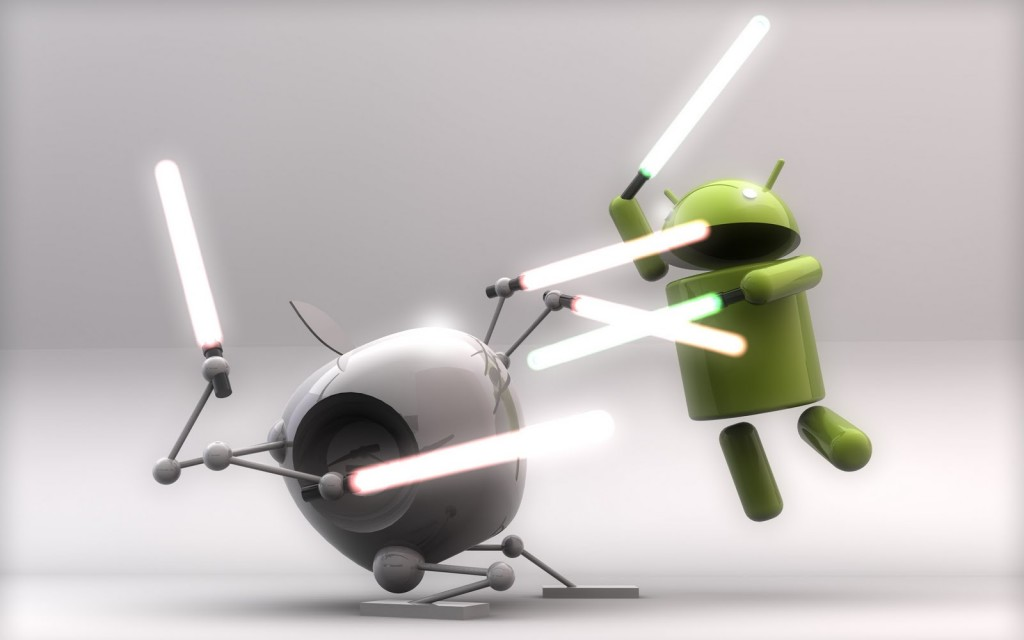image of Apple and Android logo fighting with laser swords