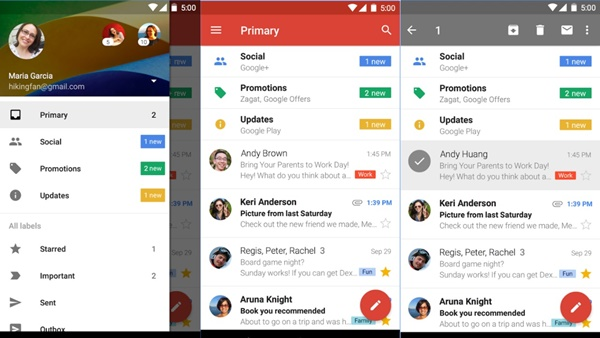 screenshot of Google Playstore and Gmail