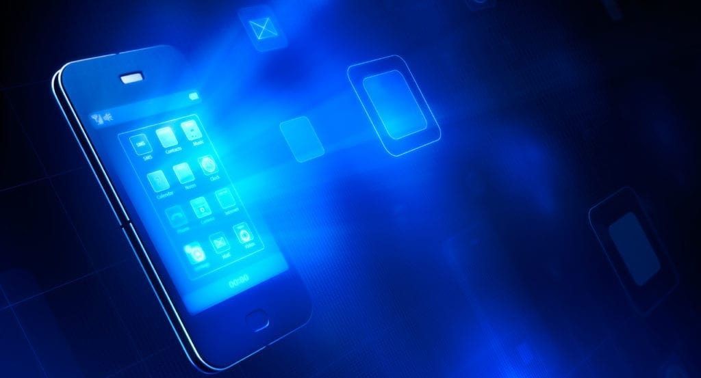 smartphone with blue lights