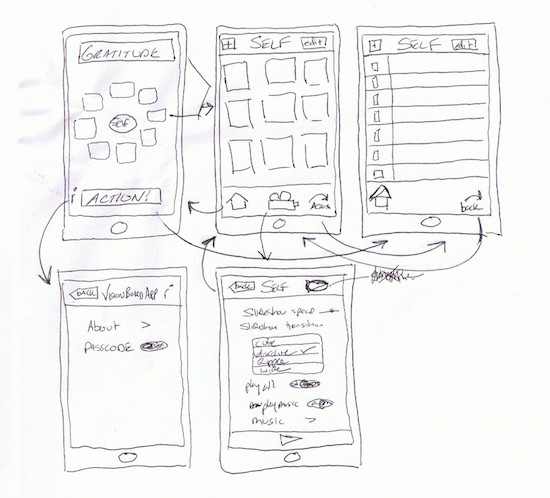 sketches of an app on paper