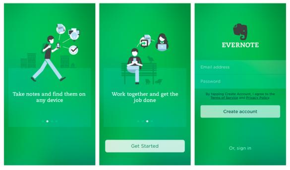 screenshots of EverNote app