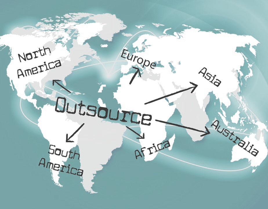 "image of the world with ""Outsourcing"""