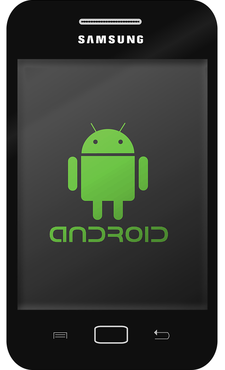 Samsung smartphone with Android logo