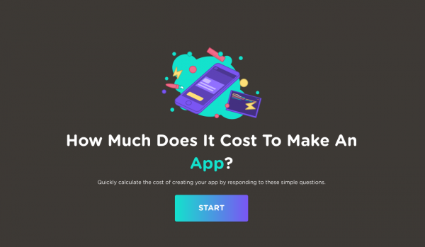 how much does it cost to make an app? start button