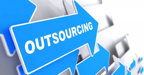 blue sign with outsourcing