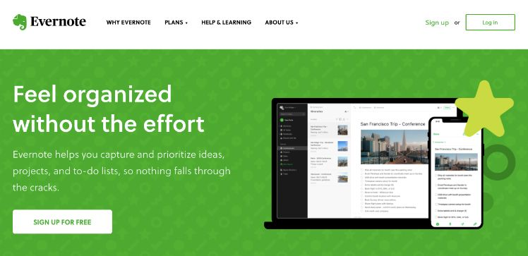 screenshot evernote web app