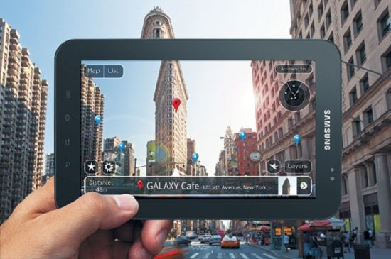 tablet with ar in the city