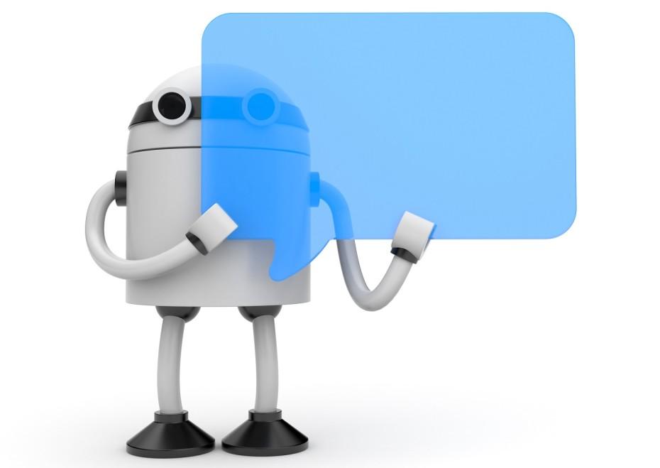 robot with a speech bubble