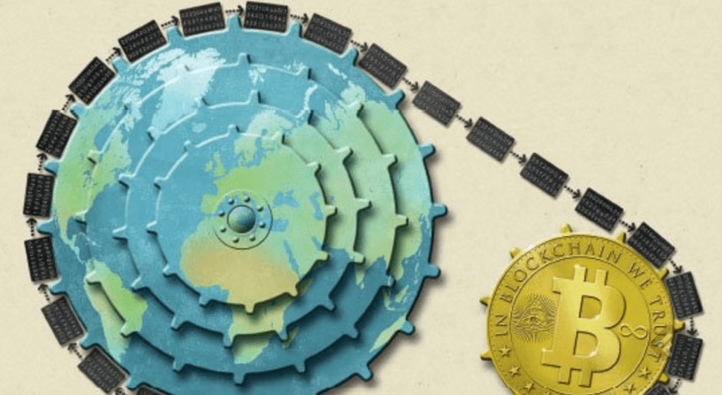 bitcoin connected with gearwheel