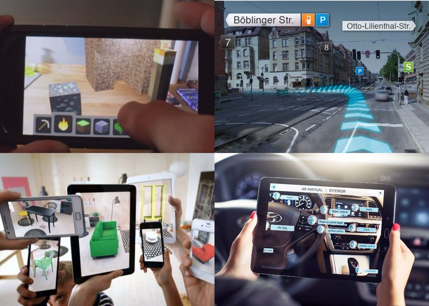 four examples of augmented reality with mobile devices