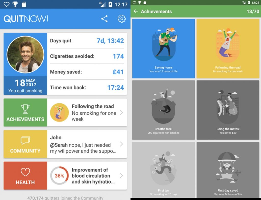 screenshot of Quitnow! app