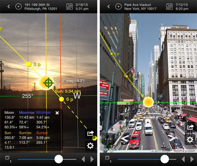 screenshot of drone app Sun Surveyor