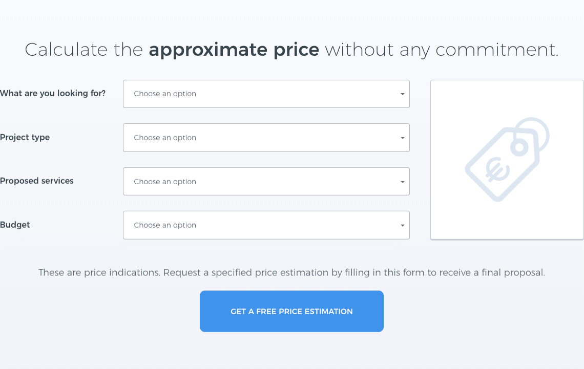 price calculating web page yeeply