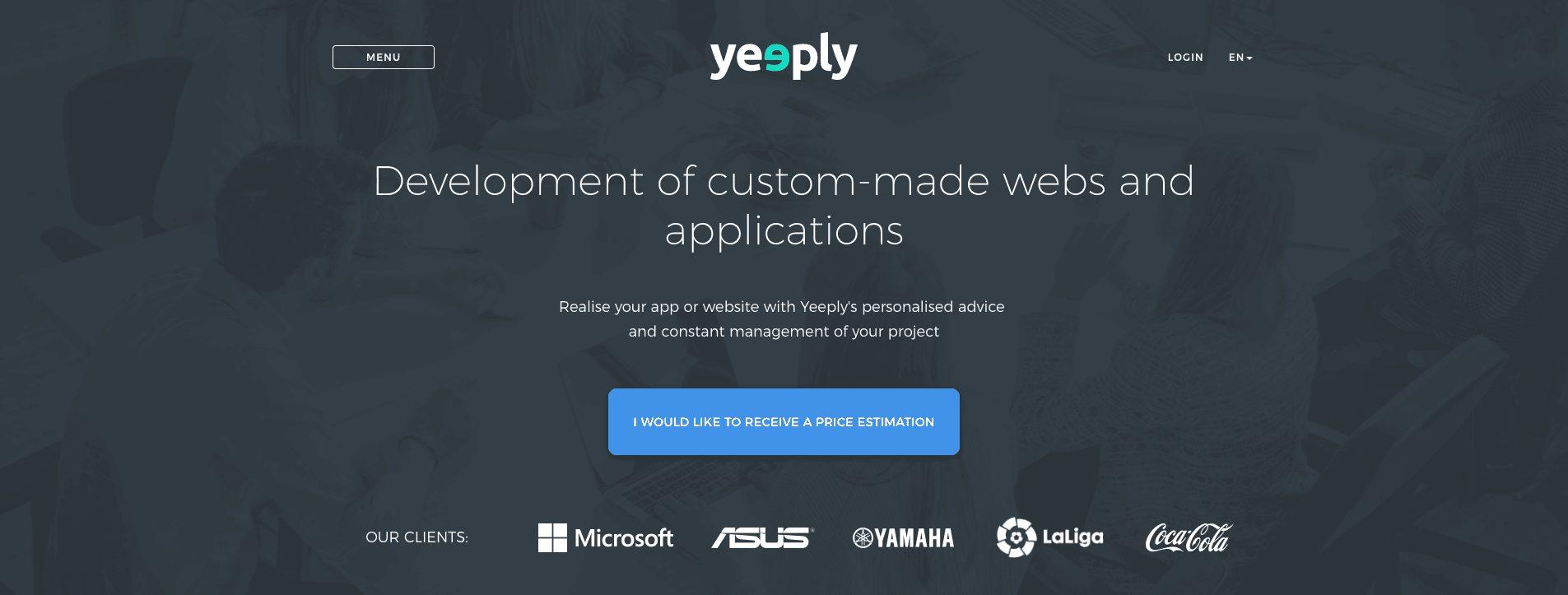 screenshot new website of Yeeply