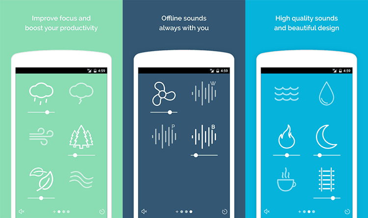 three images describing noisli app