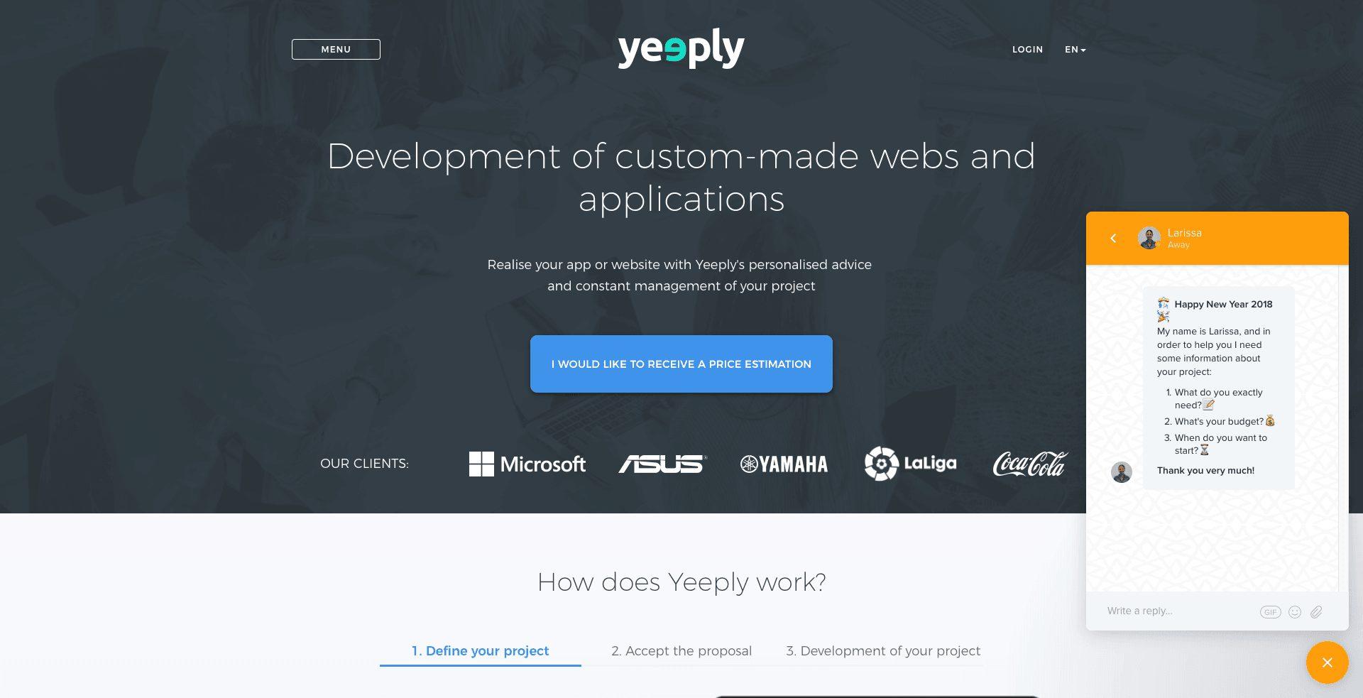 screenshot of yeeply website