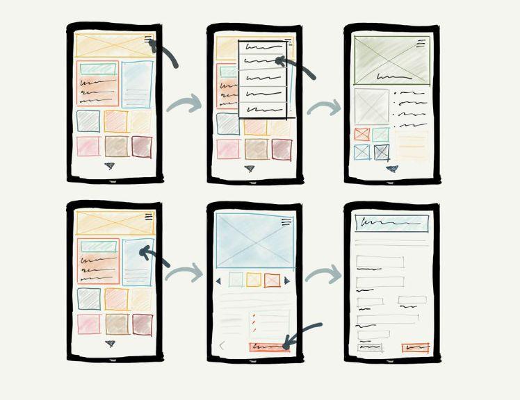 draw of smartphones on paper