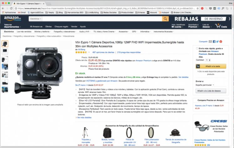 screenshot of Amazon page