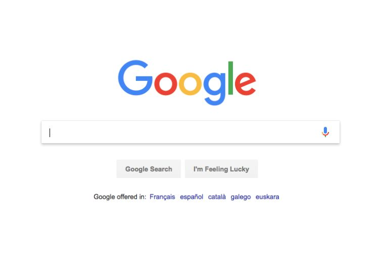 Google Homepage screen - ASO