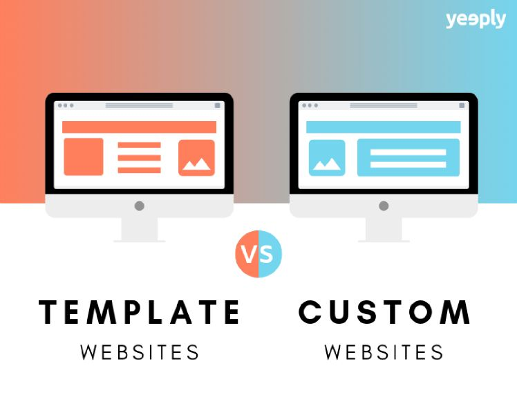 illustration of template websites vs custom websites