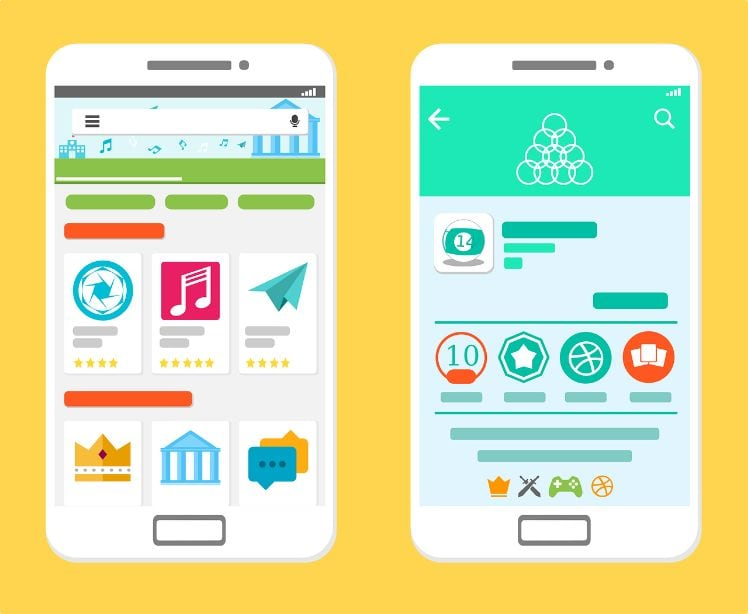 Google Play Store illustration on two smartphones