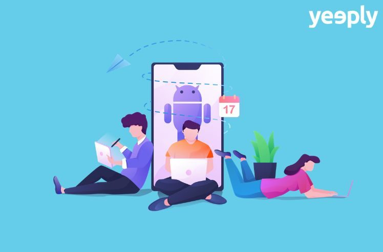 illustration of an android app development team- creating android apps