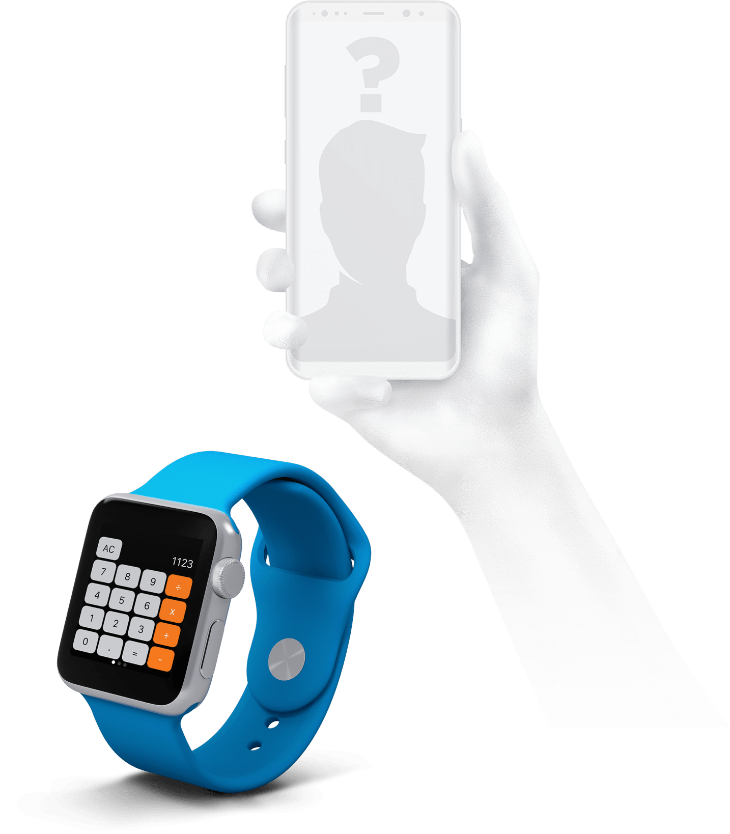 smartwatch and an almost fading hand holding a smartphone