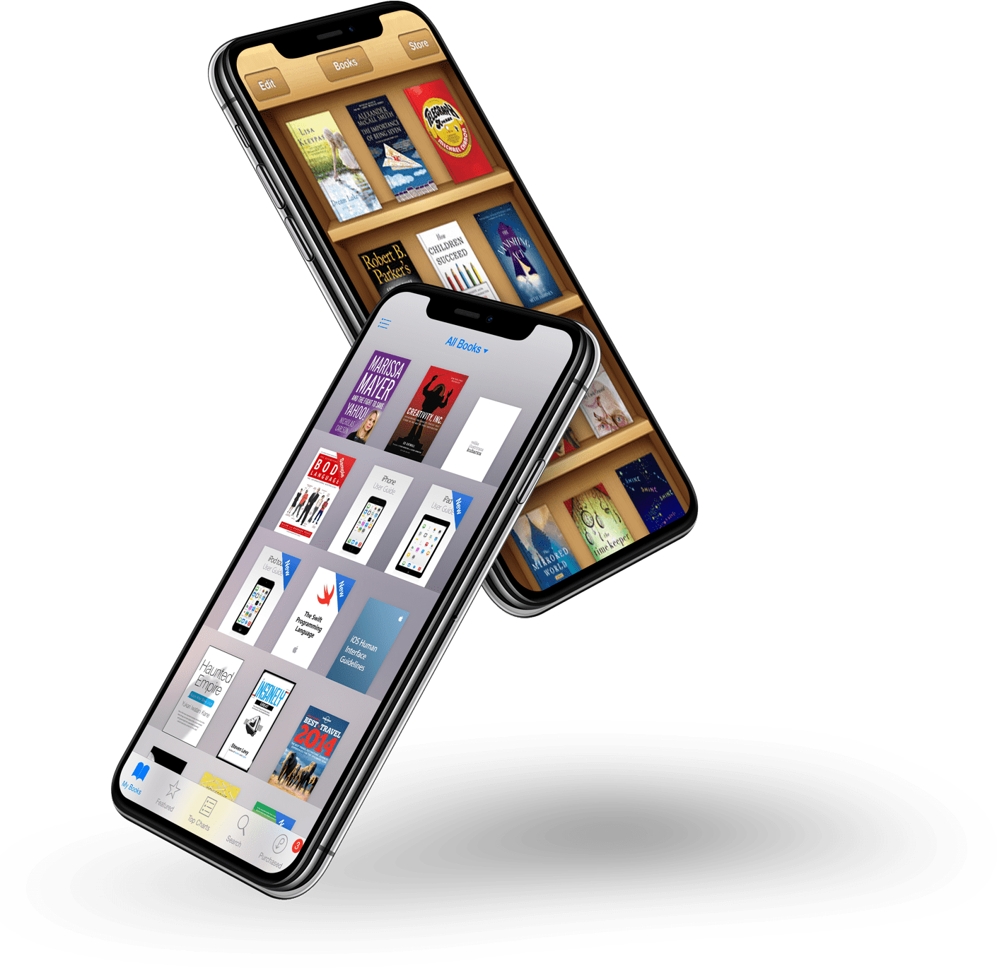 2 smartphones showcasing library apps