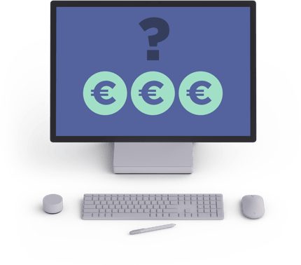 laptop screen icon with 3 euro signs and interrogation point