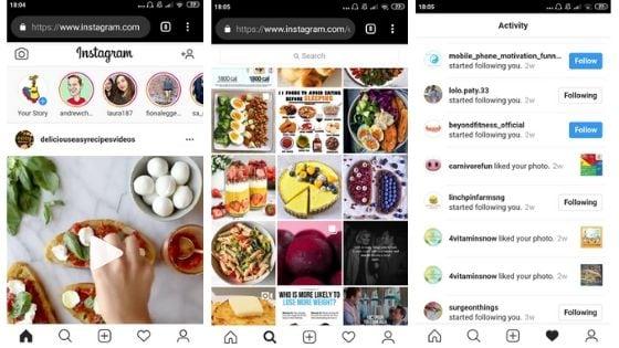 instagram pwa- ux progressive web app