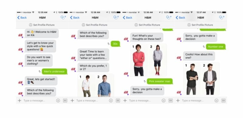 AI chatbot of the online ecommerce H&M