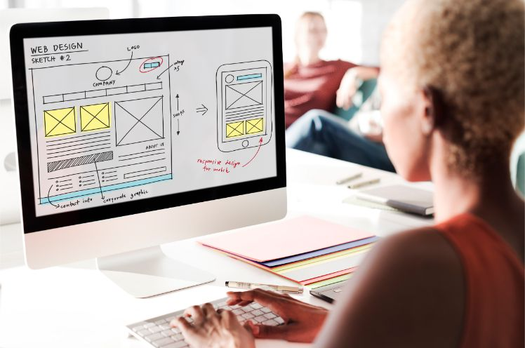 web designer working- website project planning