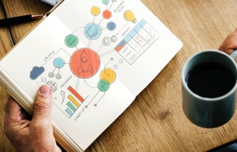a white page book with some colourful designs, analytics, tables, cloud