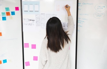 a young woman writing on a whiteboard with some stickers and mobile designs