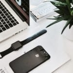 apple devices on a desk