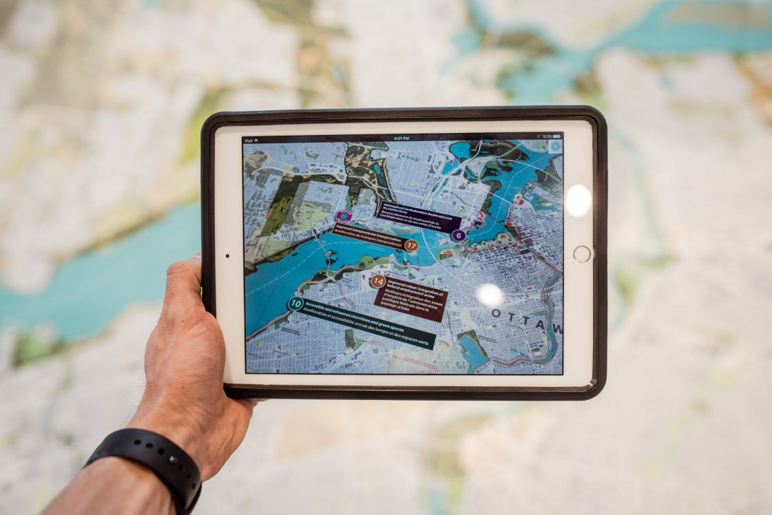 tablet with an augmented reality map