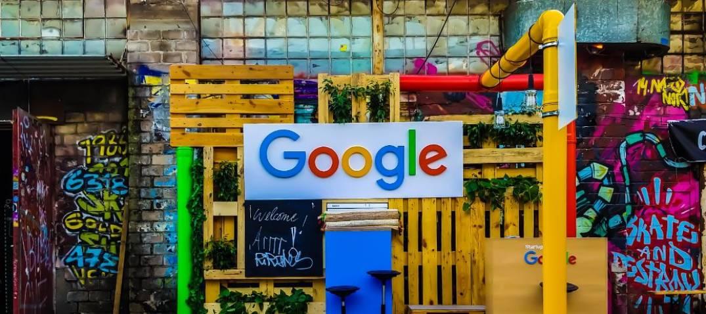Google's logo on a wall